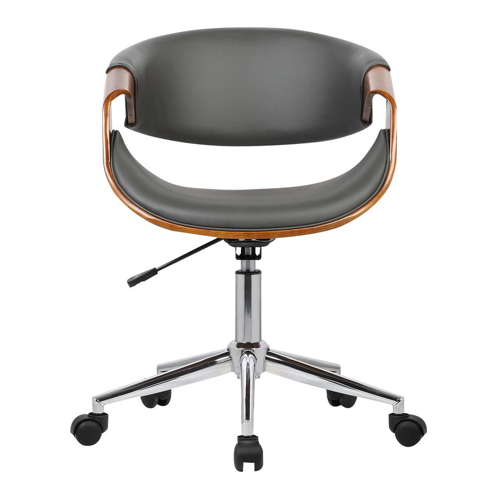 Mid-Century Office Chair in Chrome finish with Gray Faux Leather and Walnut Veneer Arms. Picture 2