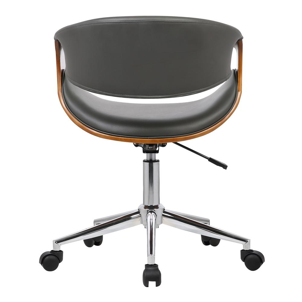 Mid-Century Office Chair in Chrome finish with Gray Faux Leather and Walnut Veneer Arms. Picture 4