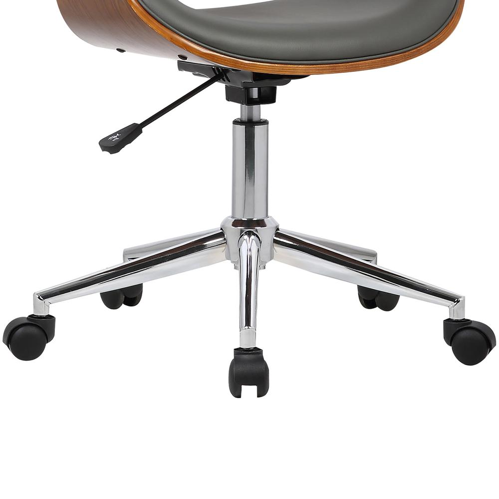 Mid-Century Office Chair in Chrome finish with Gray Faux Leather and Walnut Veneer Arms. Picture 7