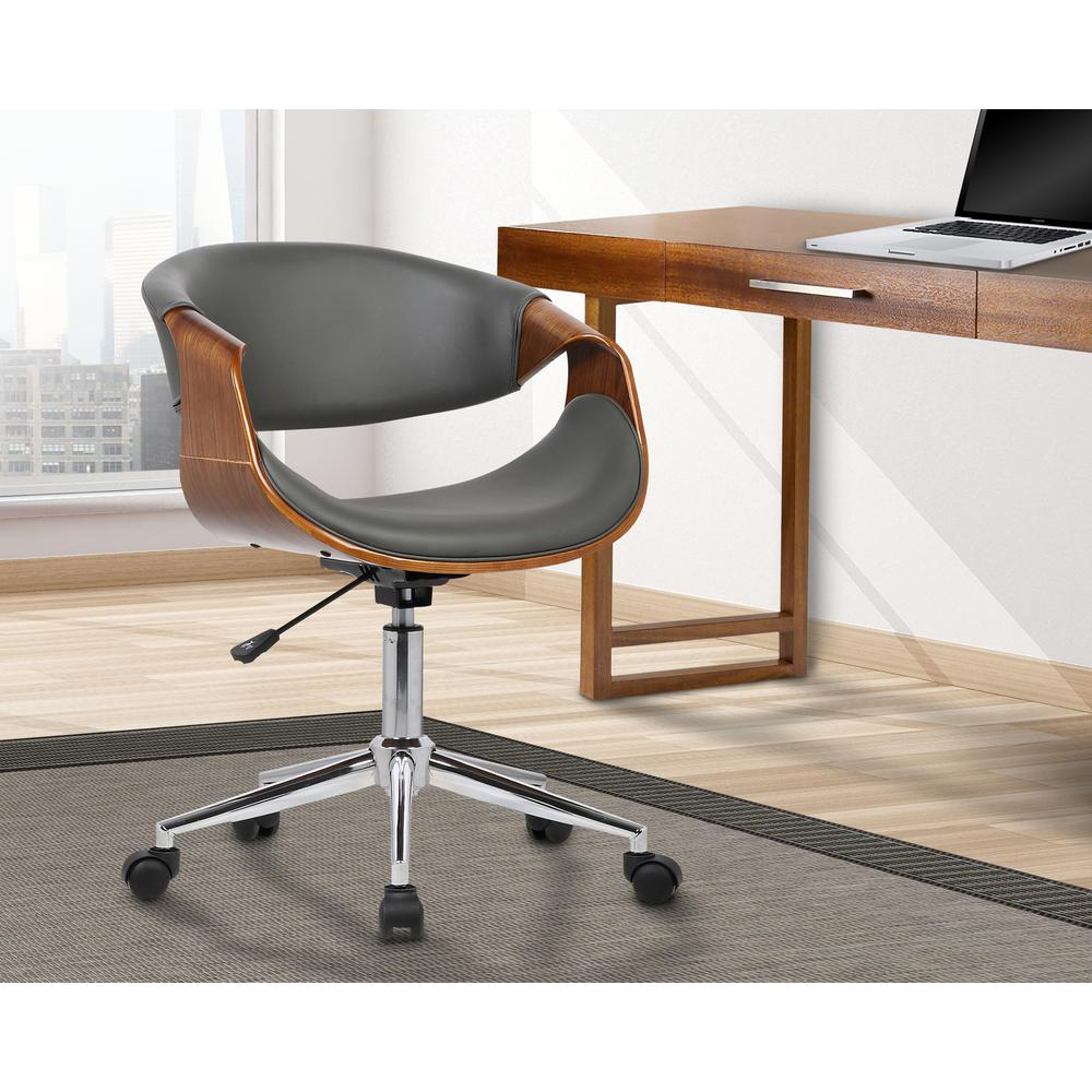 Mid-Century Office Chair in Chrome finish with Gray Faux Leather and Walnut Veneer Arms. Picture 8