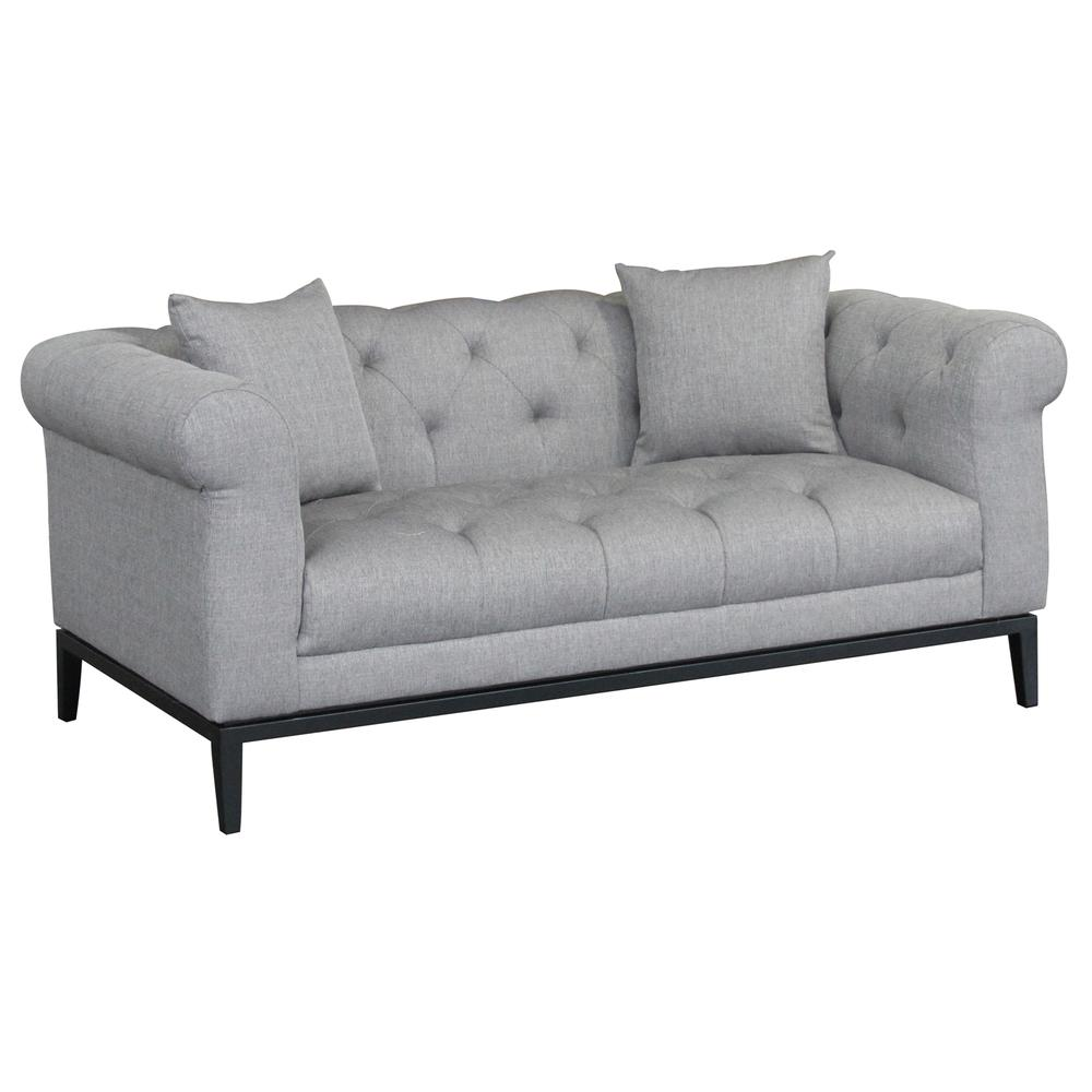 Contemporary Loveseat with Black Iron Finish Base and Grey Fabric. Picture 1