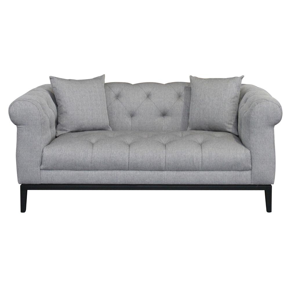 Contemporary Loveseat with Black Iron Finish Base and Grey Fabric. Picture 2