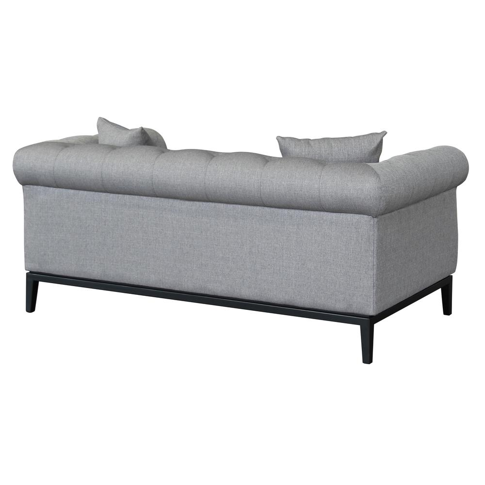 Contemporary Loveseat with Black Iron Finish Base and Grey Fabric. Picture 3