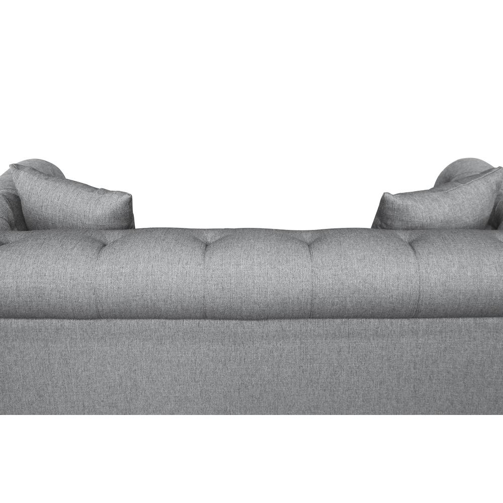 Contemporary Loveseat with Black Iron Finish Base and Grey Fabric. Picture 5