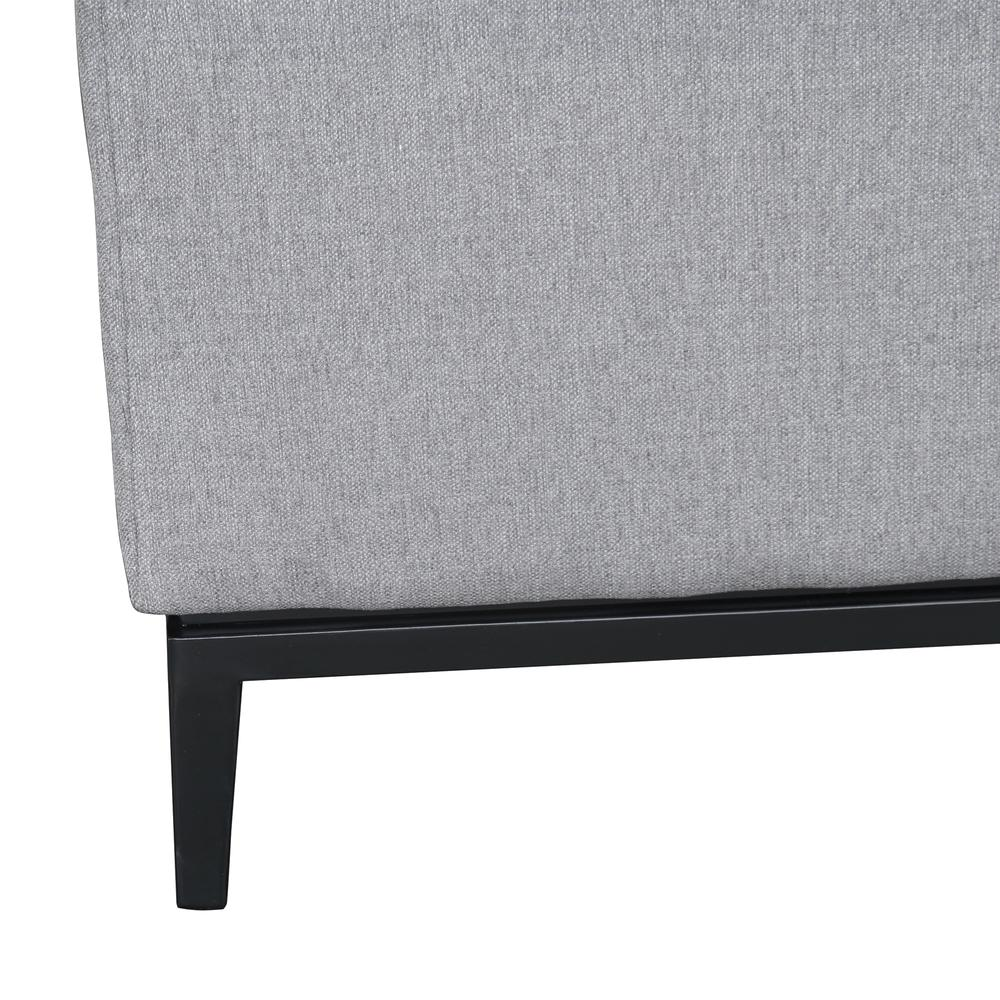 Contemporary Loveseat with Black Iron Finish Base and Grey Fabric. Picture 6