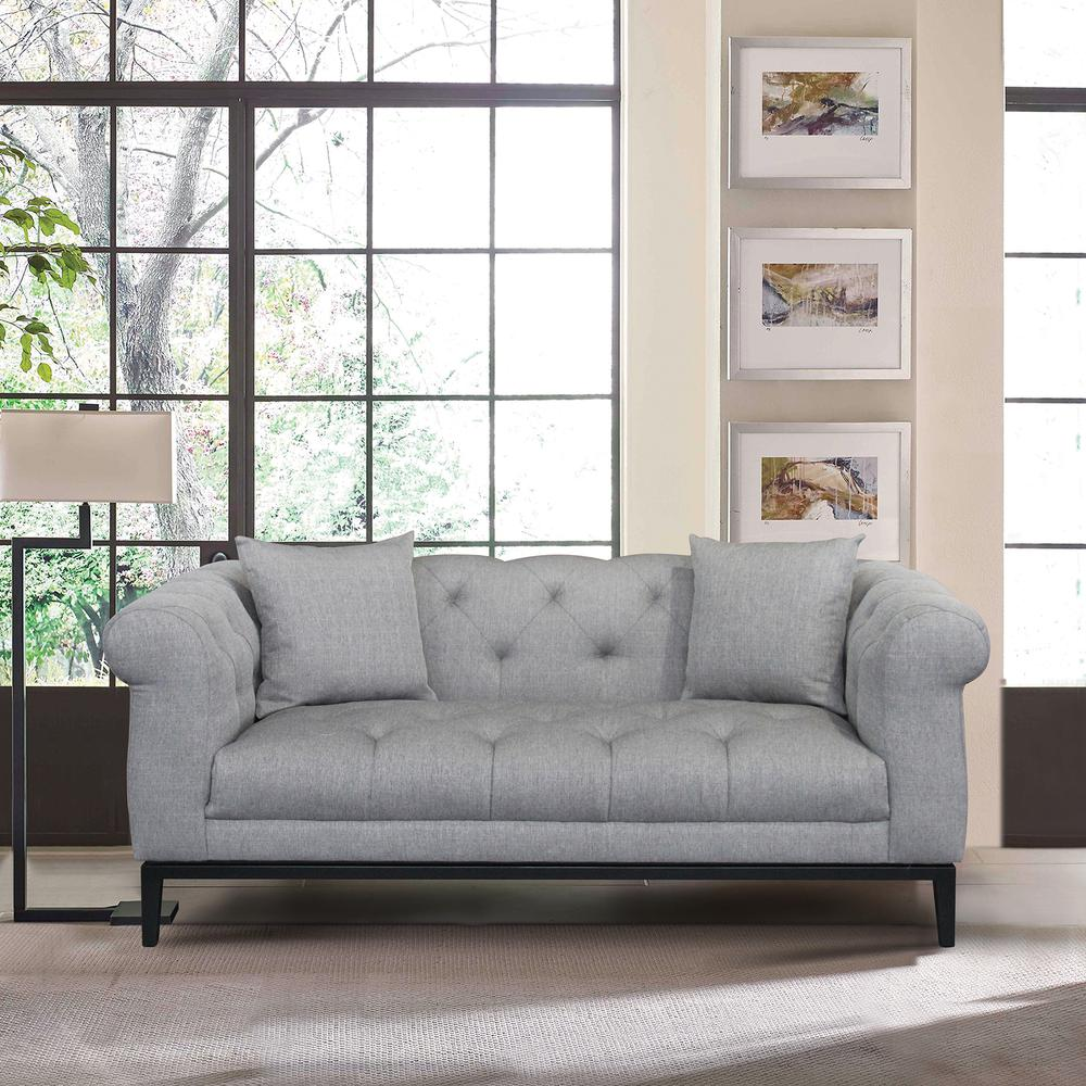 Contemporary Loveseat with Black Iron Finish Base and Grey Fabric. Picture 7