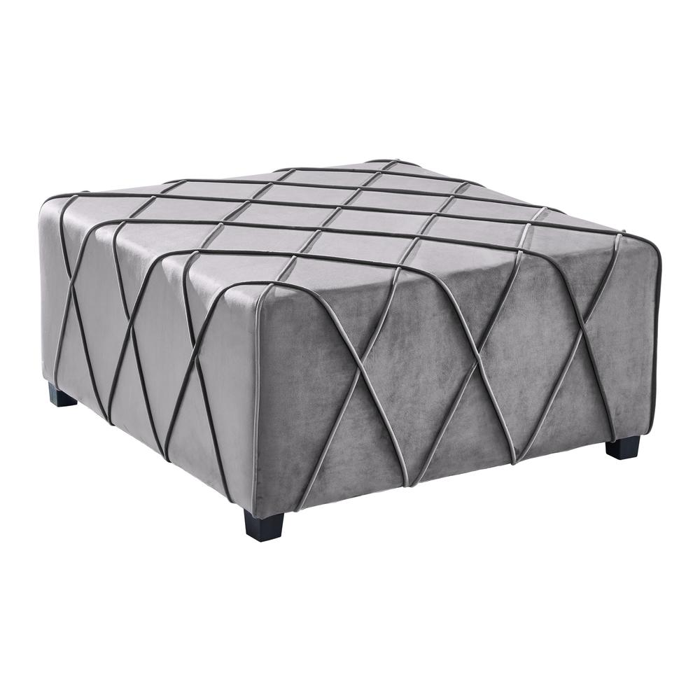 Contemporary Ottoman in Grey Velvet with Piping Accents and Wood Legs. Picture 1
