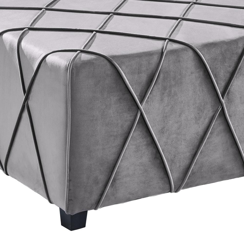 Contemporary Ottoman in Grey Velvet with Piping Accents and Wood Legs. Picture 2