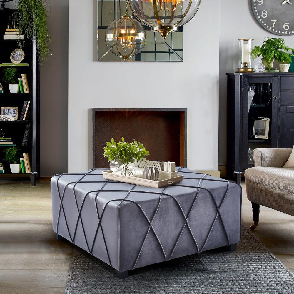 Contemporary Ottoman in Grey Velvet with Piping Accents and Wood Legs. Picture 3