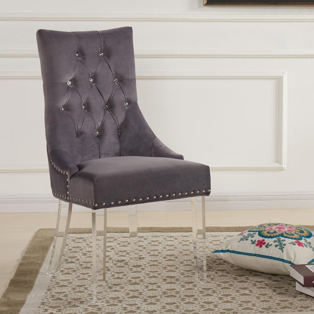 Modern and Contemporary Tufted Dining Chair in Gray Velvet with Acrylic Legs. Picture 2