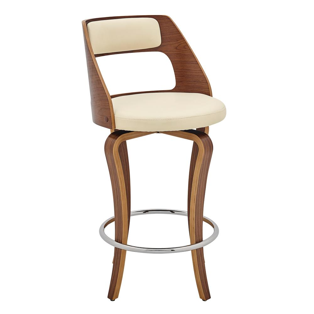 "Grady 26"" Swivel Cream Faux Leather and Walnut Wood Bar Stool. Picture 1"