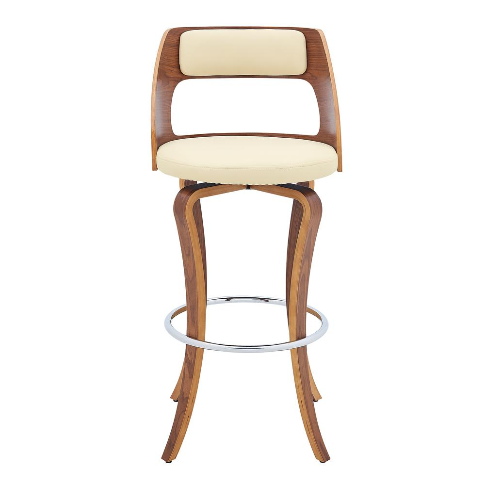 "Grady 26"" Swivel Cream Faux Leather and Walnut Wood Bar Stool. Picture 2"