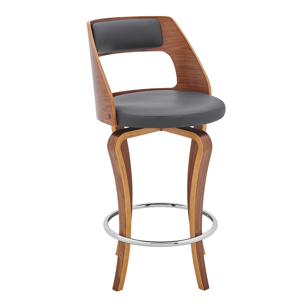 """Grady 26"""" Swivel Gray Faux Leather and Walnut Wood Bar Stool. Picture 1"""
