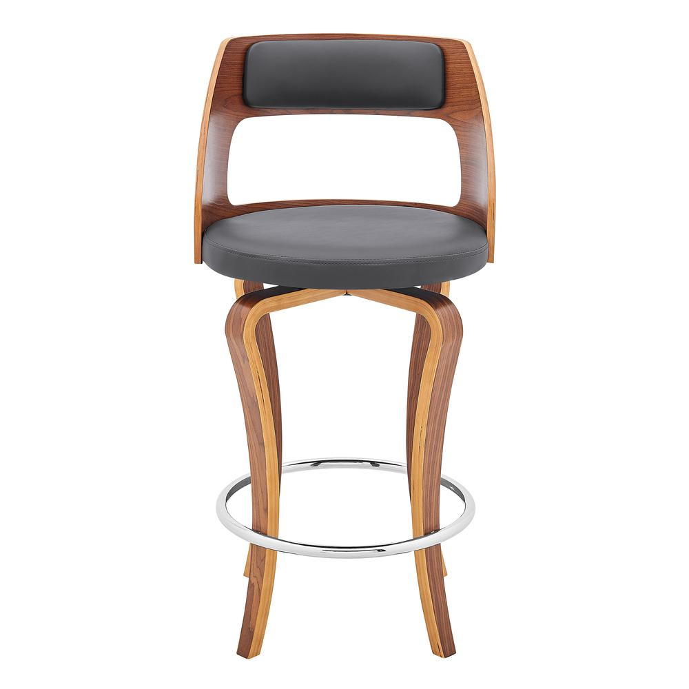"""Grady 26"""" Swivel Gray Faux Leather and Walnut Wood Bar Stool. Picture 2"""
