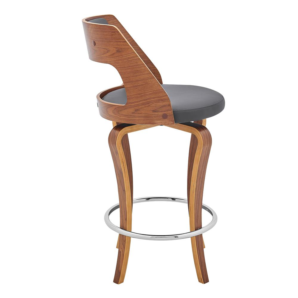 """Grady 26"""" Swivel Gray Faux Leather and Walnut Wood Bar Stool. Picture 3"""