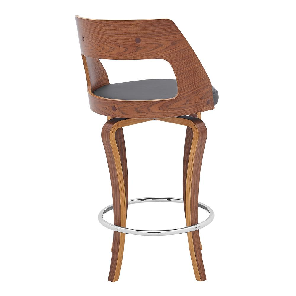 """Grady 26"""" Swivel Gray Faux Leather and Walnut Wood Bar Stool. Picture 4"""