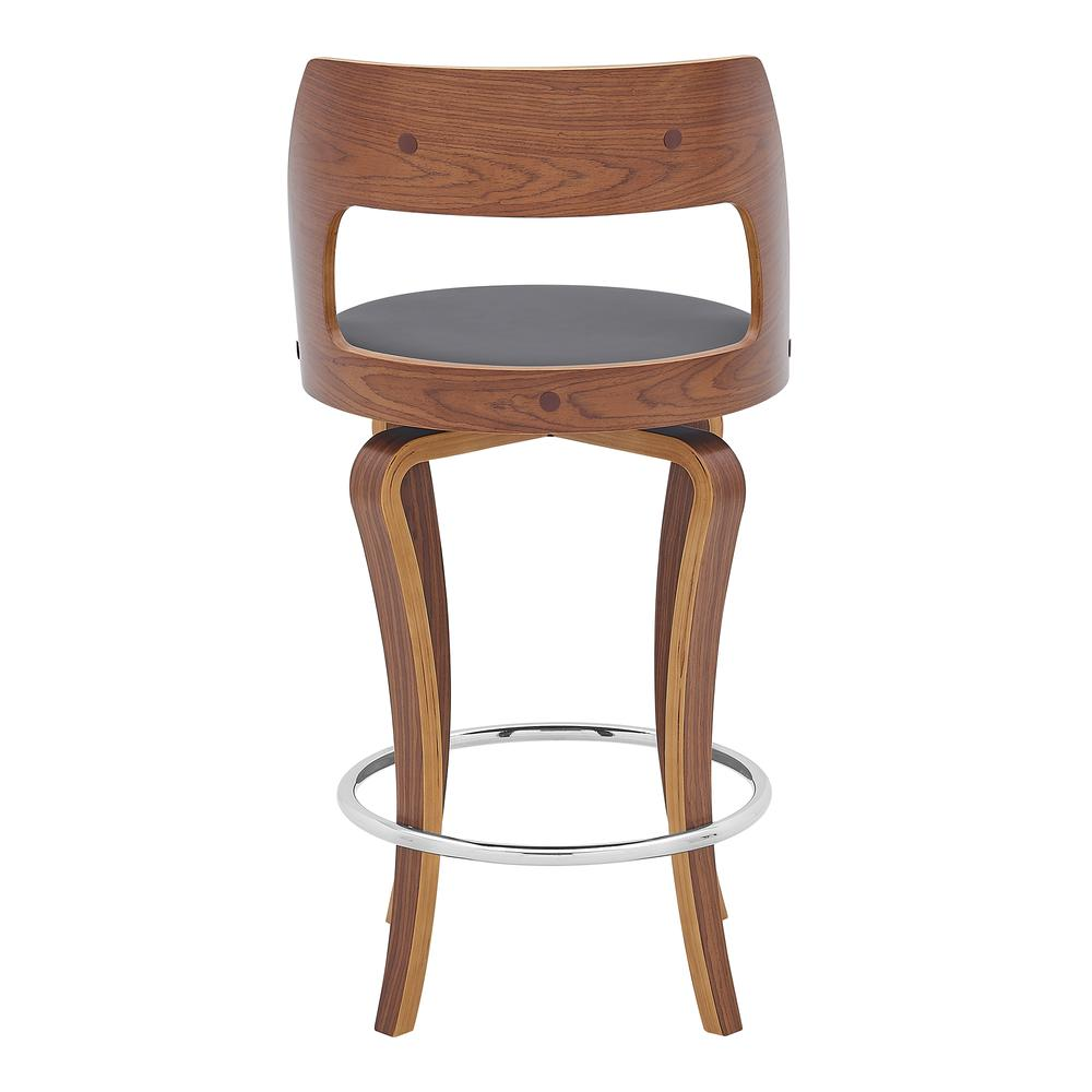 """Grady 26"""" Swivel Gray Faux Leather and Walnut Wood Bar Stool. Picture 5"""
