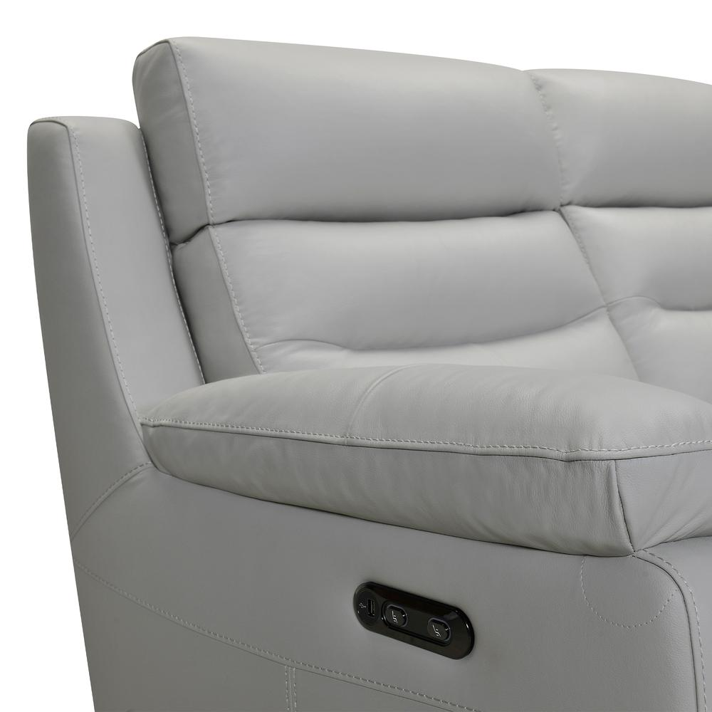 """Hayward 82"""" Dove Gray Leather Power Reclining Sofa, Dove Grey. Picture 5"""