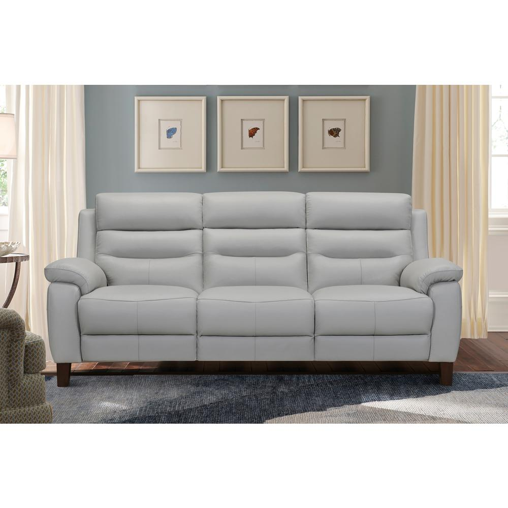 """Hayward 82"""" Dove Gray Leather Power Reclining Sofa, Dove Grey. Picture 2"""