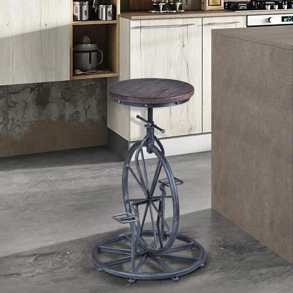 Harlem Adjustable Barstool In Industrial Gray Finish With