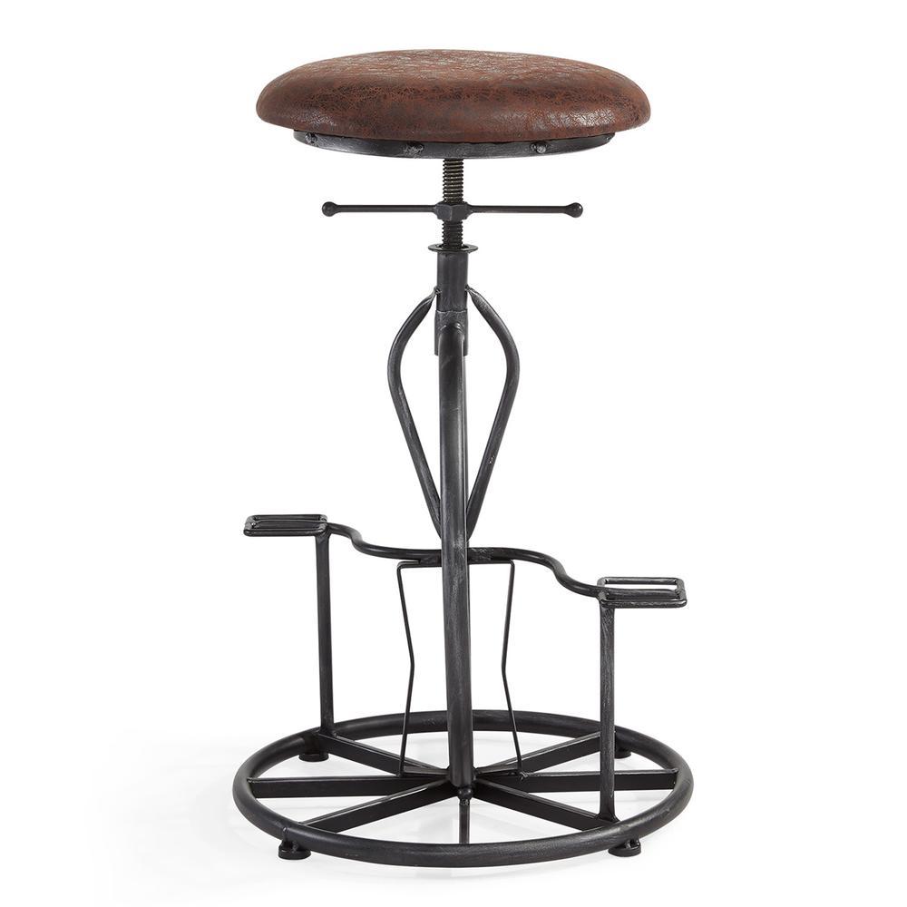 Harlem Adjustable Industrial Metal Bicycle Barstool In