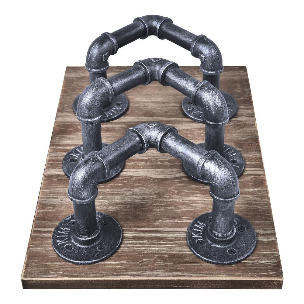 Industrial Wine Rack in Industrial Grey and Pine Wood. Picture 3
