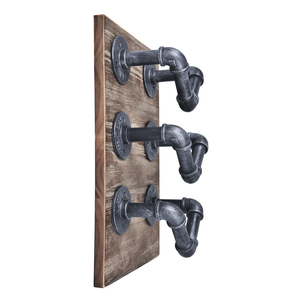 Industrial Wine Rack in Industrial Grey and Pine Wood. Picture 4