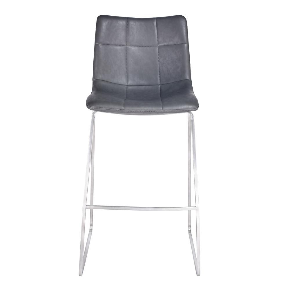 """Armen Living Hamilton 30"""" Bar Height Barstool in Brushed Stainless Steel with Vintage Grey Faux Leather. Picture 2"""