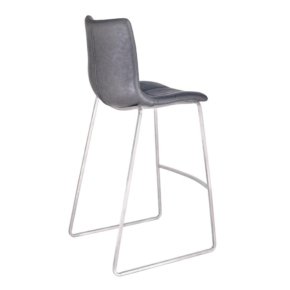 """Armen Living Hamilton 30"""" Bar Height Barstool in Brushed Stainless Steel with Vintage Grey Faux Leather. Picture 3"""
