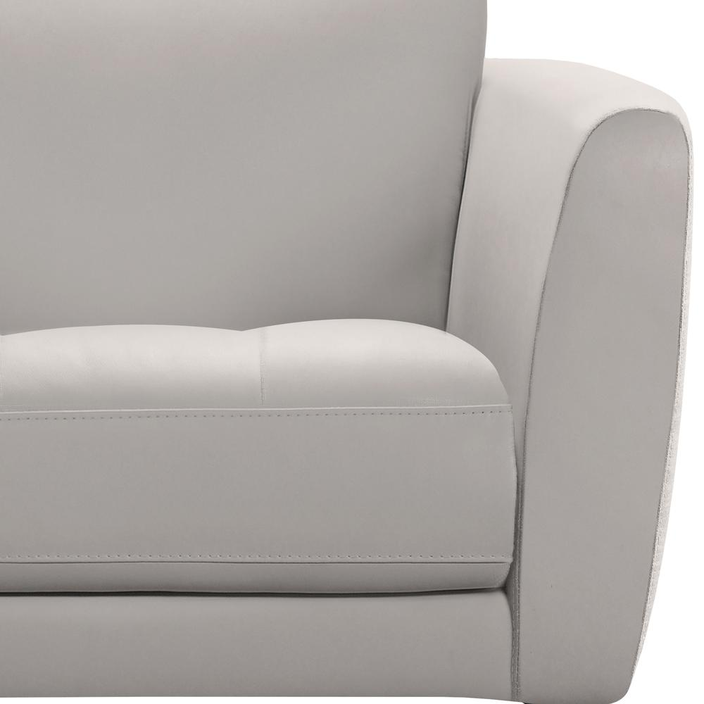 Contemporary Chair in Genuine Dove Grey Leather with Black Metal Legs. Picture 3