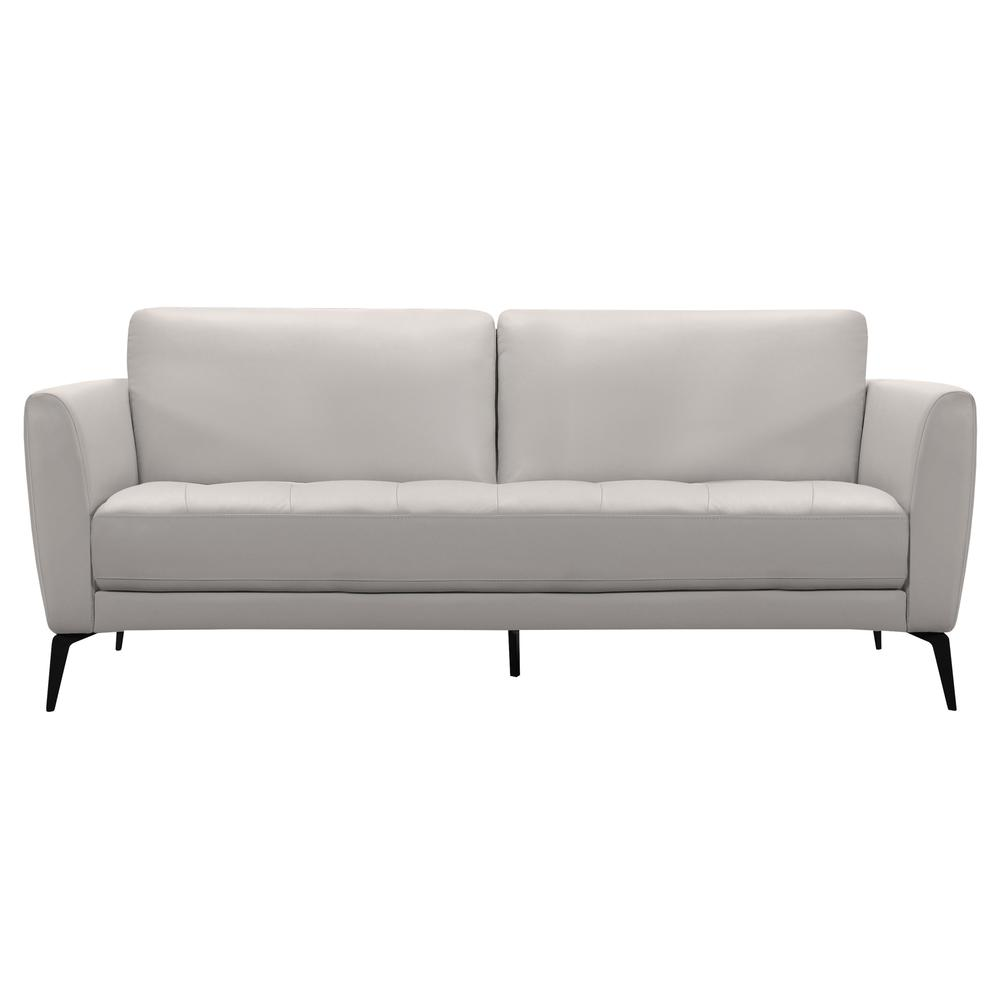 Contemporary Sofa in Genuine Dove Grey Leather with Black Metal Legs. Picture 1