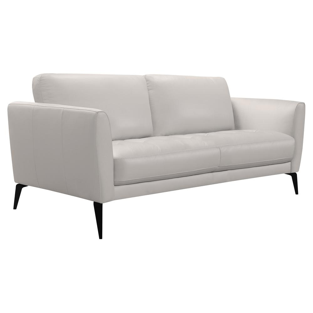 Contemporary Sofa in Genuine Dove Grey Leather with Black Metal Legs. Picture 2