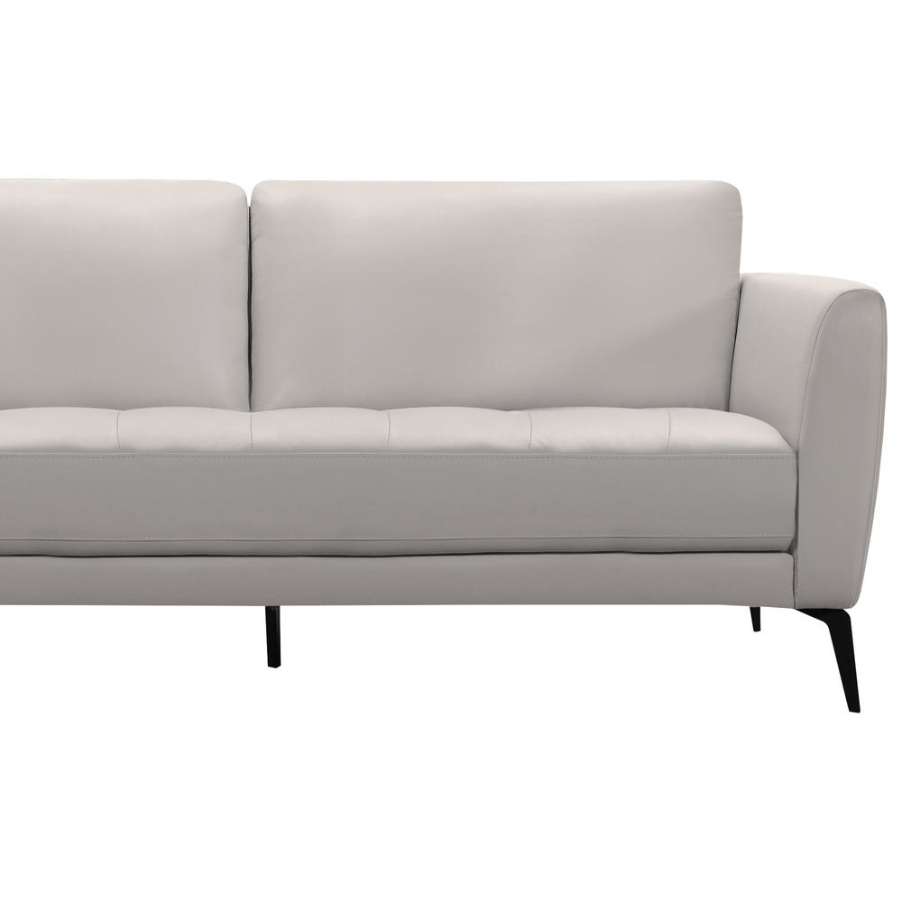 Contemporary Sofa in Genuine Dove Grey Leather with Black Metal Legs. Picture 3