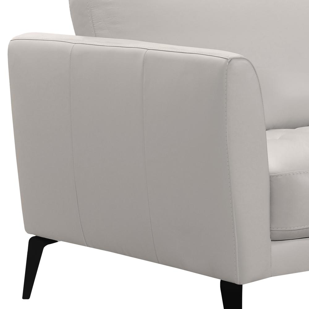 Contemporary Sofa in Genuine Dove Grey Leather with Black Metal Legs. Picture 4
