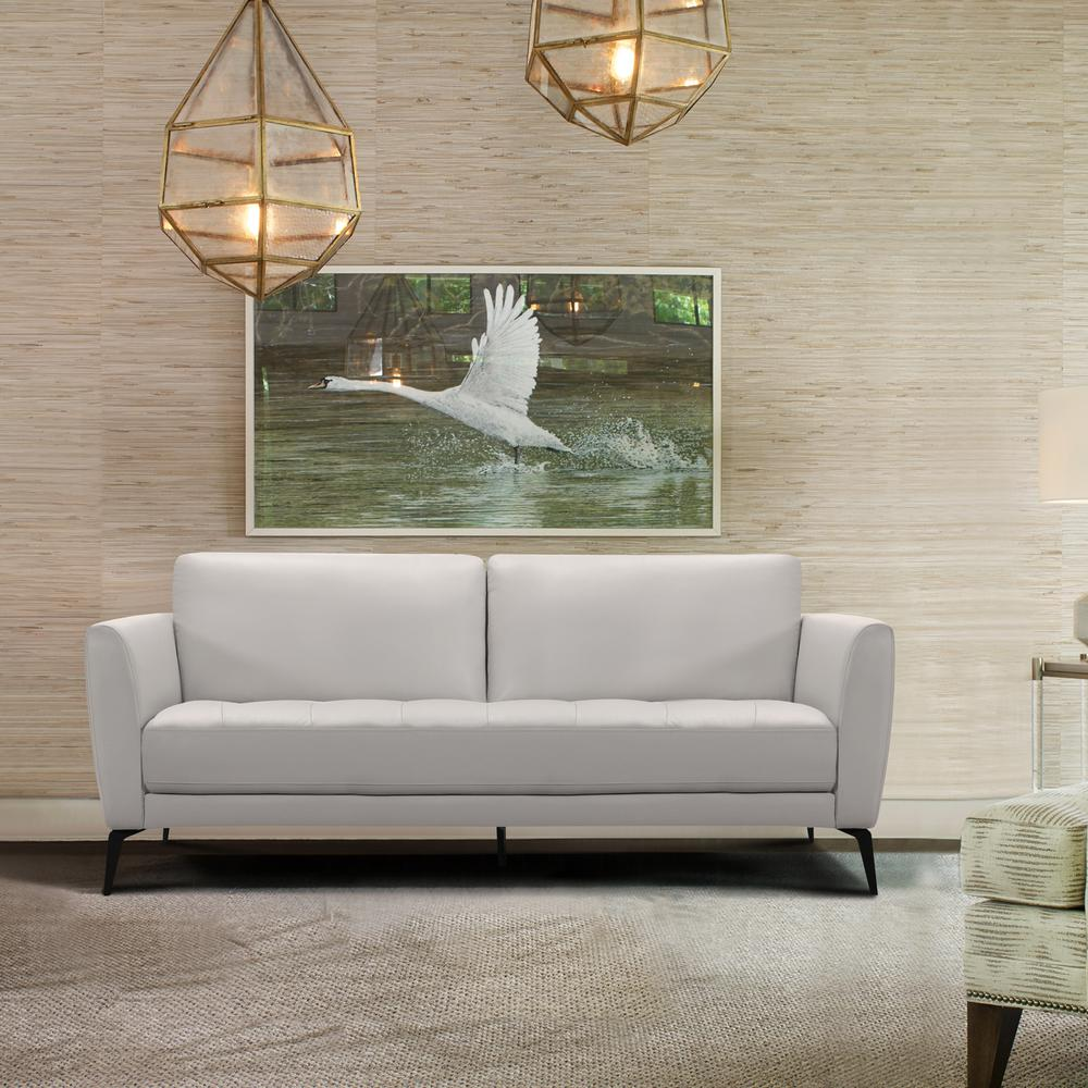 Contemporary Sofa in Genuine Dove Grey Leather with Black Metal Legs. Picture 5