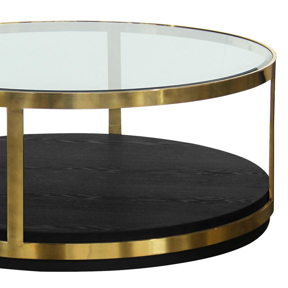 Contemporary Coffee Table in Brushed Gold Finish and Black Wood. Picture 2