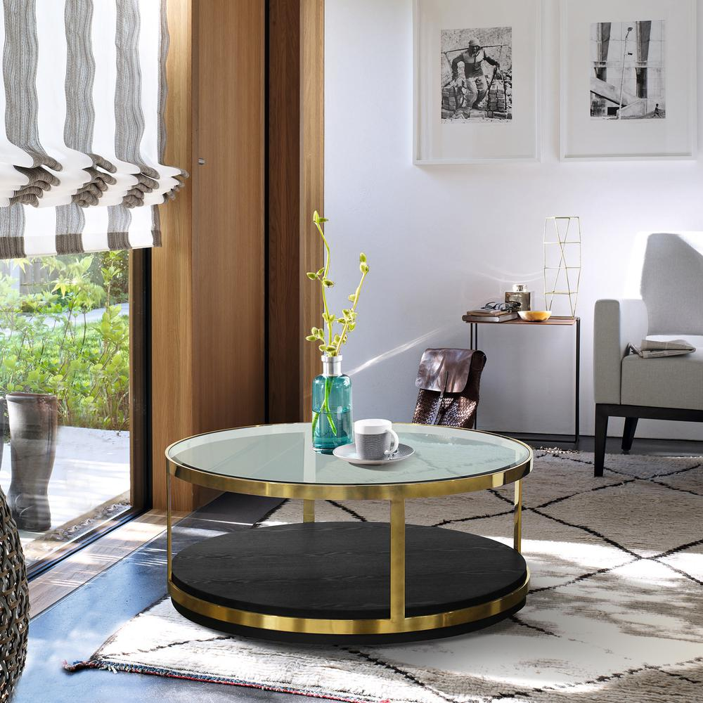 Contemporary Coffee Table in Brushed Gold Finish and Black Wood. Picture 3