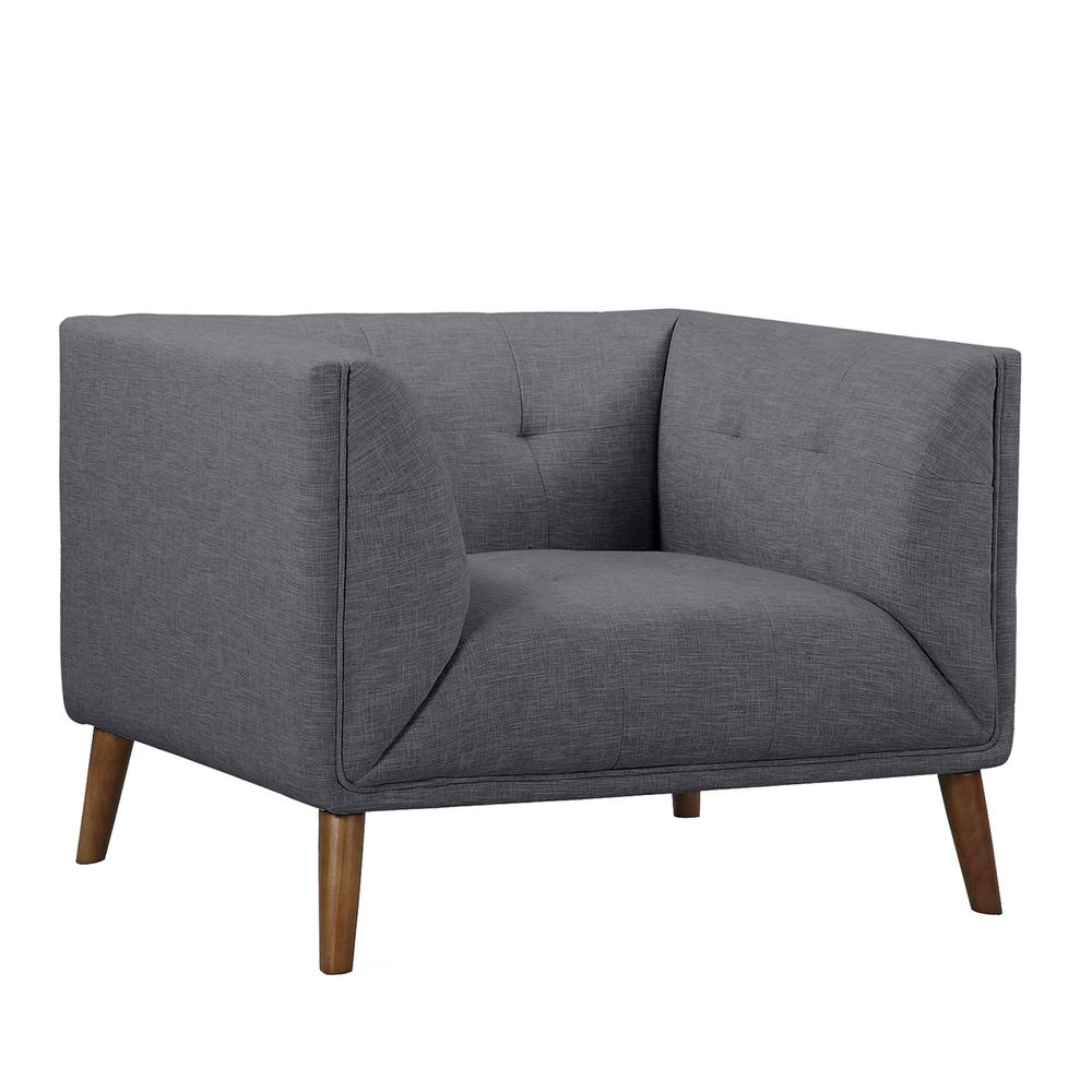 Mid-Century Button-Tufted Chair in Dark Gray Linen and Walnut Legs. Picture 1