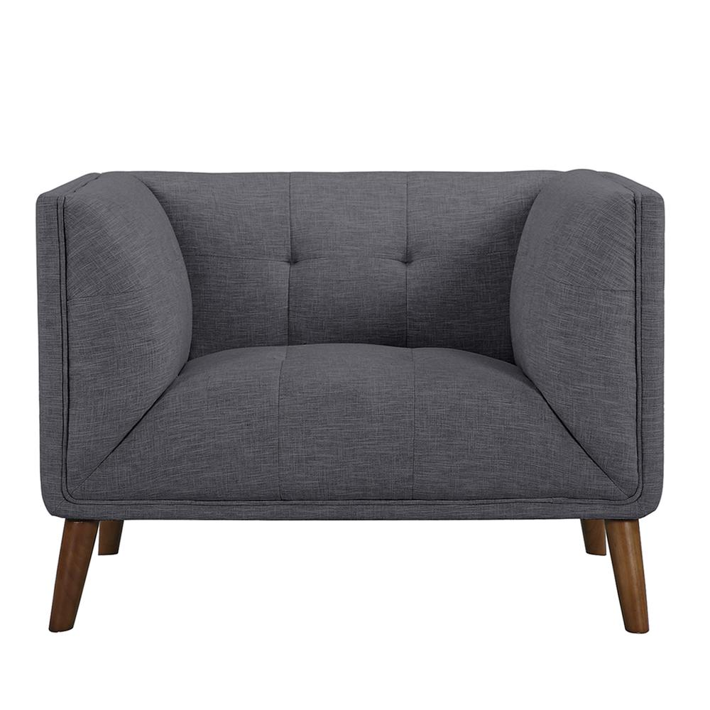 Mid-Century Button-Tufted Chair in Dark Gray Linen and Walnut Legs. Picture 2