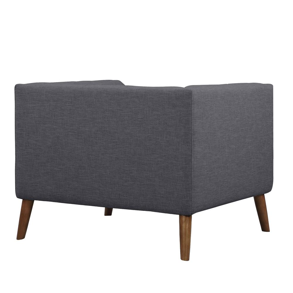 Mid-Century Button-Tufted Chair in Dark Gray Linen and Walnut Legs. Picture 3