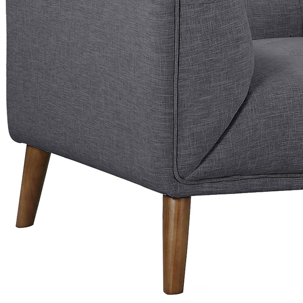 Mid-Century Button-Tufted Chair in Dark Gray Linen and Walnut Legs. Picture 5