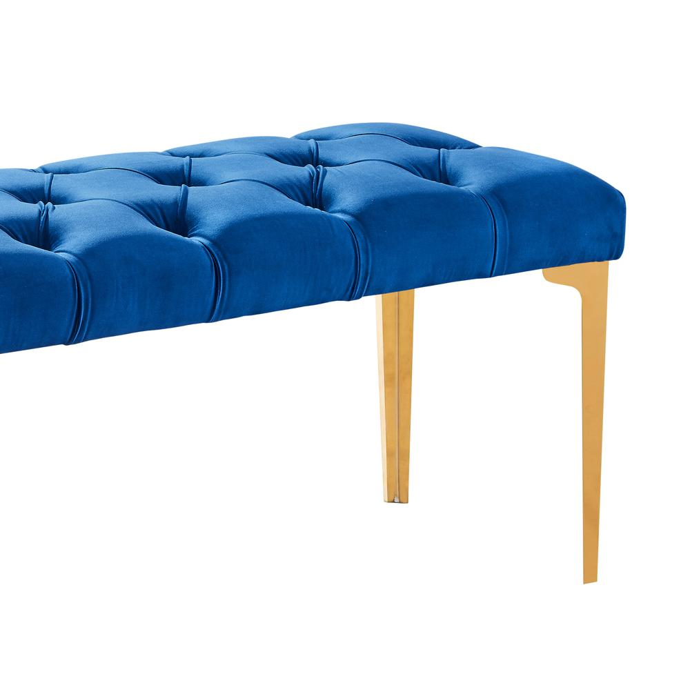 Contemporary Bench in Blue Velvet and Gold Stainless Steel Finish. Picture 2