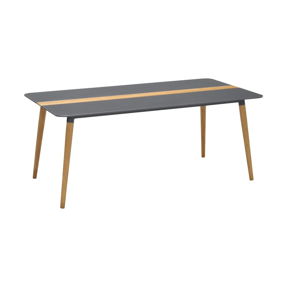 Ipanema Outdoor Aluminum Dining Table in Dark Grey with Natural Teak Wood Accent. Picture 1