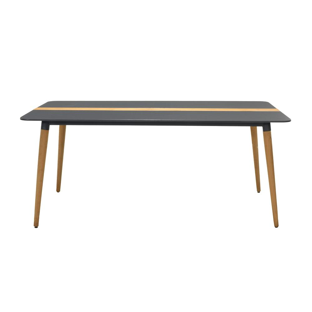 Ipanema Outdoor Aluminum Dining Table in Dark Grey with Natural Teak Wood Accent. Picture 2