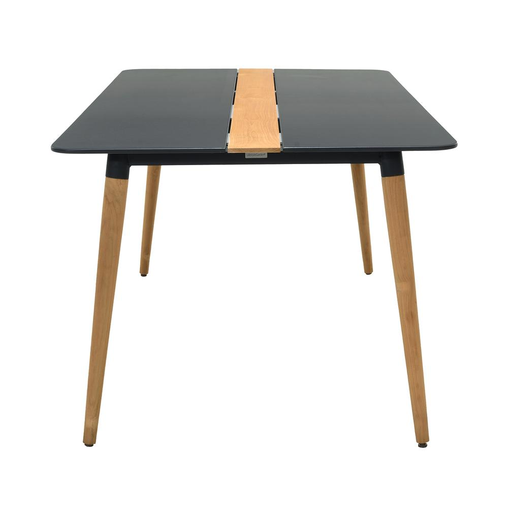 Ipanema Outdoor Aluminum Dining Table in Dark Grey with Natural Teak Wood Accent. Picture 3