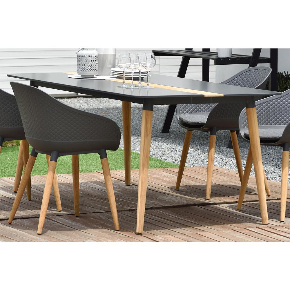 Ipanema Outdoor Aluminum Dining Table in Dark Grey with Natural Teak Wood Accent. Picture 5