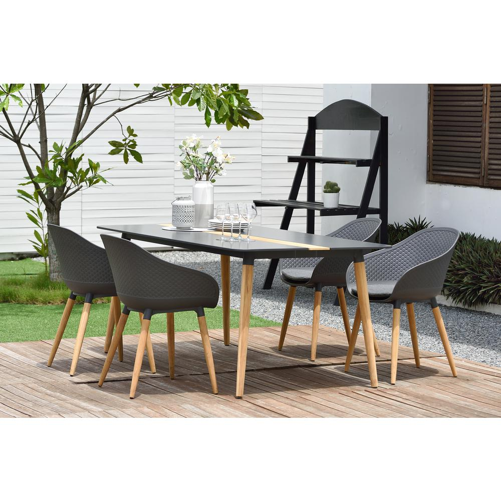 Ipanema Outdoor Aluminum Dining Table in Dark Grey with Natural Teak Wood Accent. Picture 6