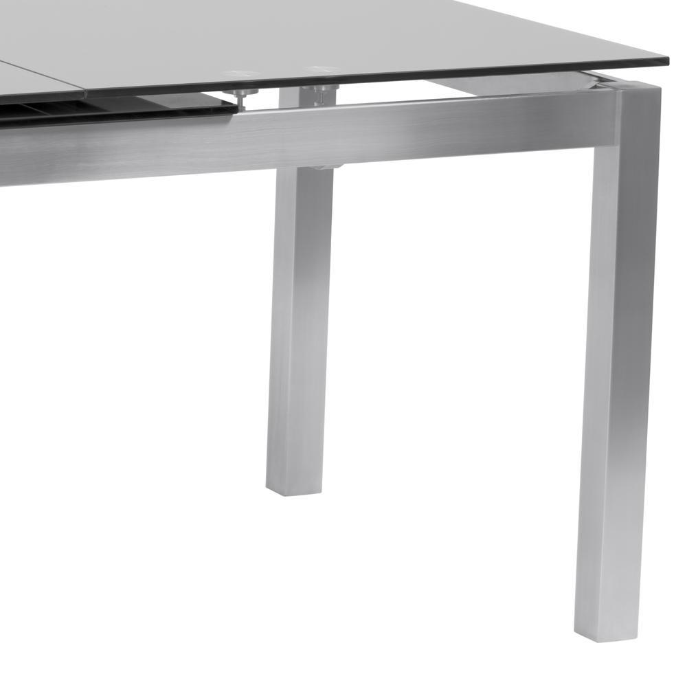 Armen living ivan extension dining table in brushed stainless armen living ivan extension dining table in brushed stainless steel and gray tempered glass top geotapseo Images