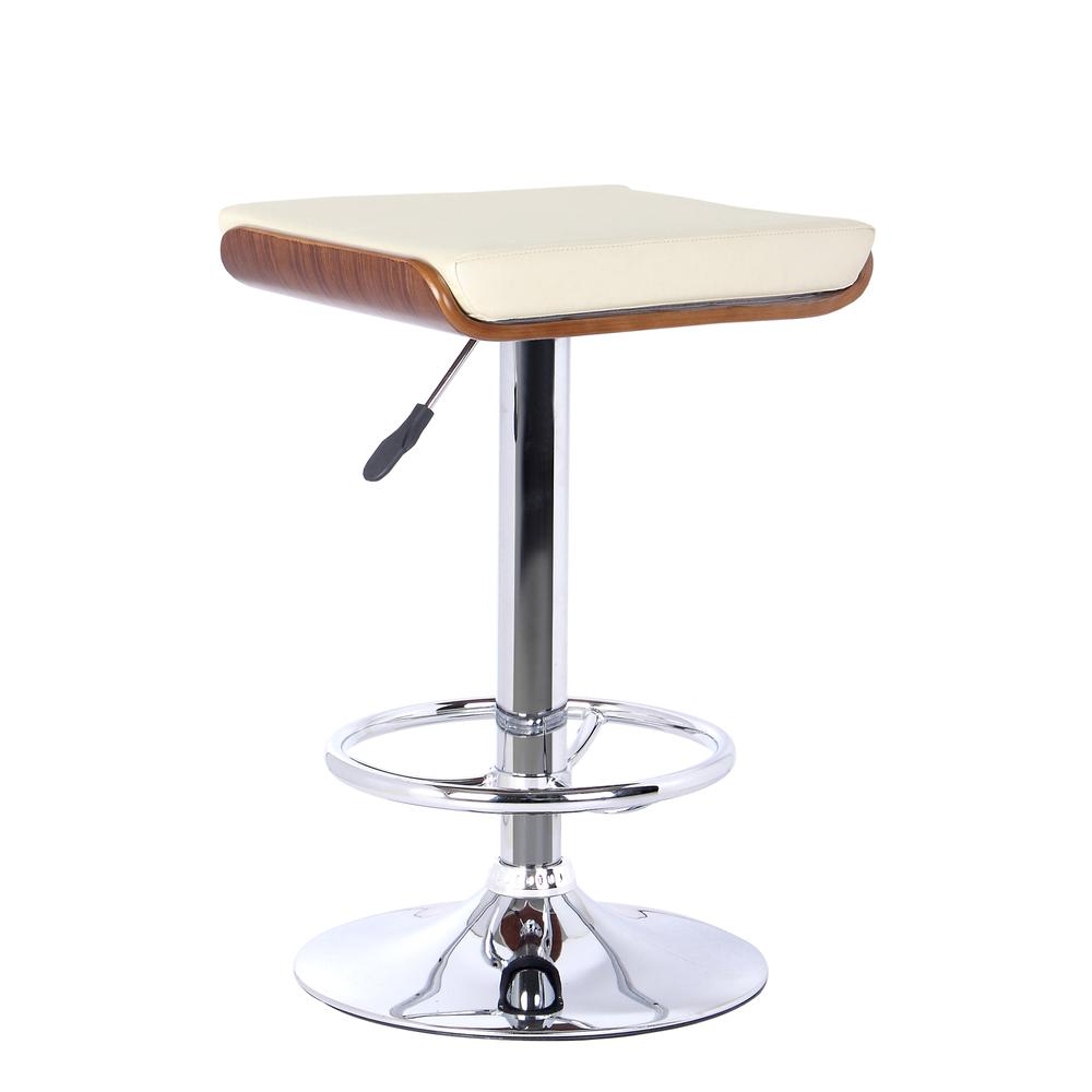Armen Living Java Barstool in Chrome finish with Walnut wood and Cream Faux Leather. Picture 1