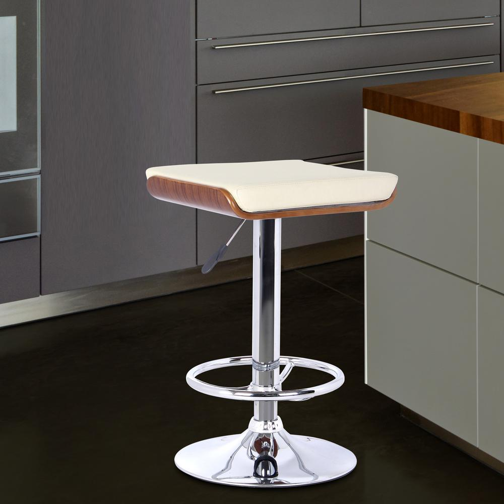 Barstool in Chrome finish with Walnut wood and Cream Faux Leather. Picture 4